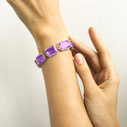 Amethyst Emerald Cut Bracelet with Diamonds