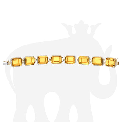 Citrine Emerald Cut Bracelet with Diamonds