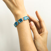 London Blue Topaz Emerald Cut Bracelet with Diamonds