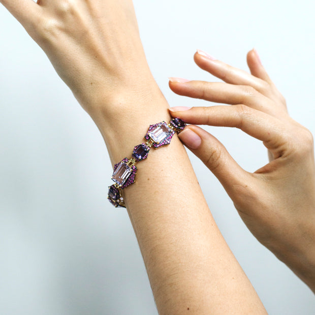 Amethyst, Amethyst Lavender and Pink Sapphire Bracelet