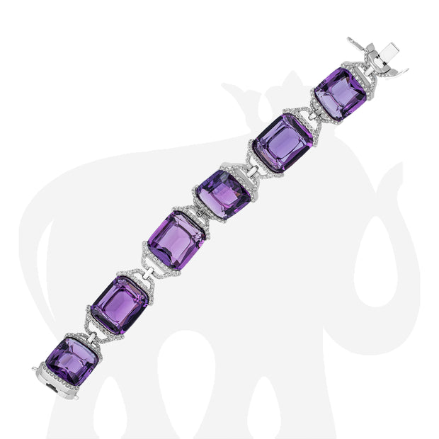 Amethyst Cushion Bracelet with Diamonds