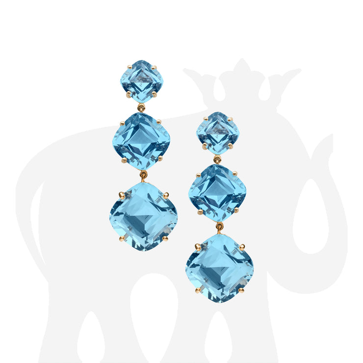 Blue Topaz Cushion Earrings