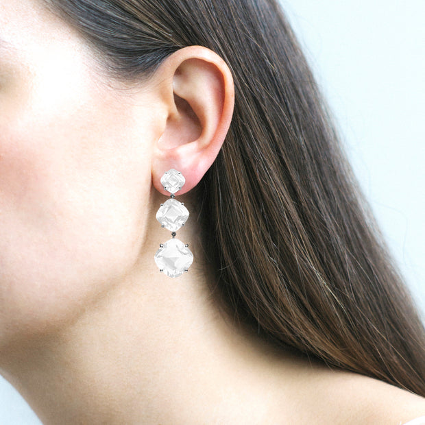 3 Tier Moon Quartz Cushion Earrings