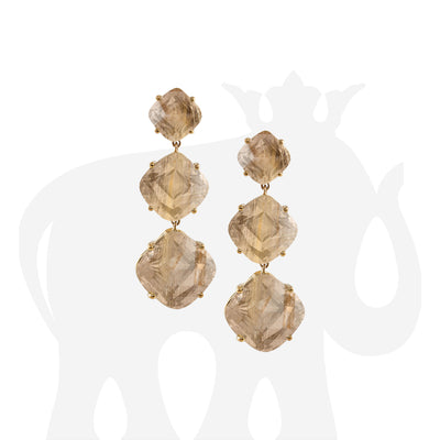 3 Tier Golden Rutilated Cushion Earrings