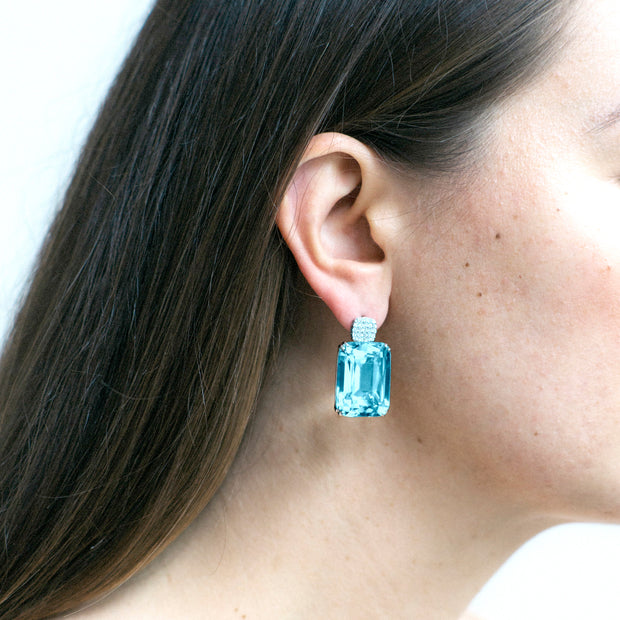 Blue Topaz Old Cushion Earrings