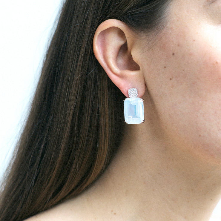 Moon Quartz Old Cushion Earrings