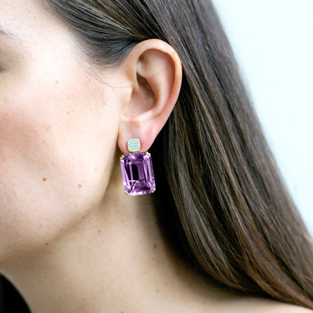 Amethyst Old Cushion Earrings