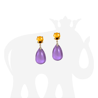 Amethyst Drop & Citrine Cabochon with Diamond Earrings