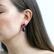 Amethyst & Garnet Drop Earrings