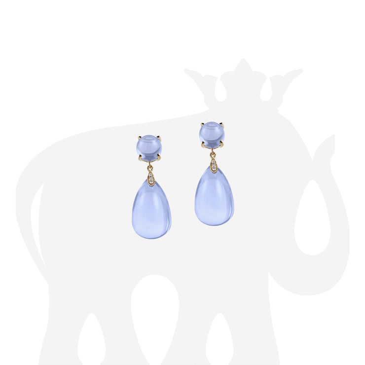 Drop Cabochon Blue Chalcedony Earrings with Diamonds