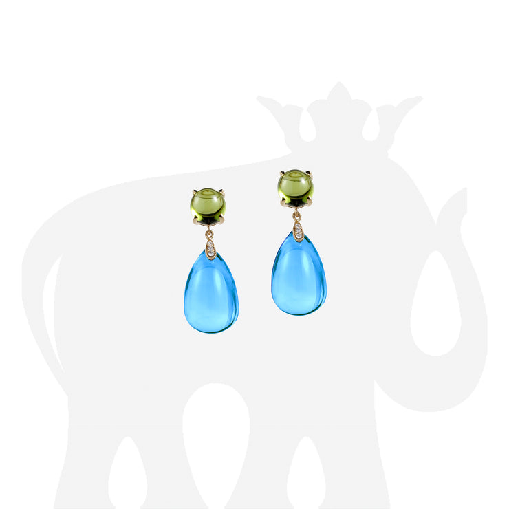 Blue Topaz & Peridot Cabochon & Drop Earrings with Diamonds