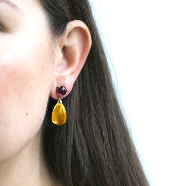 Citrine & Garnet Drop Earrings