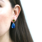London Blue Topaz & Peridot Drop Earrings