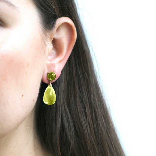 Lemon Quartz & Peridot Drop Earrings