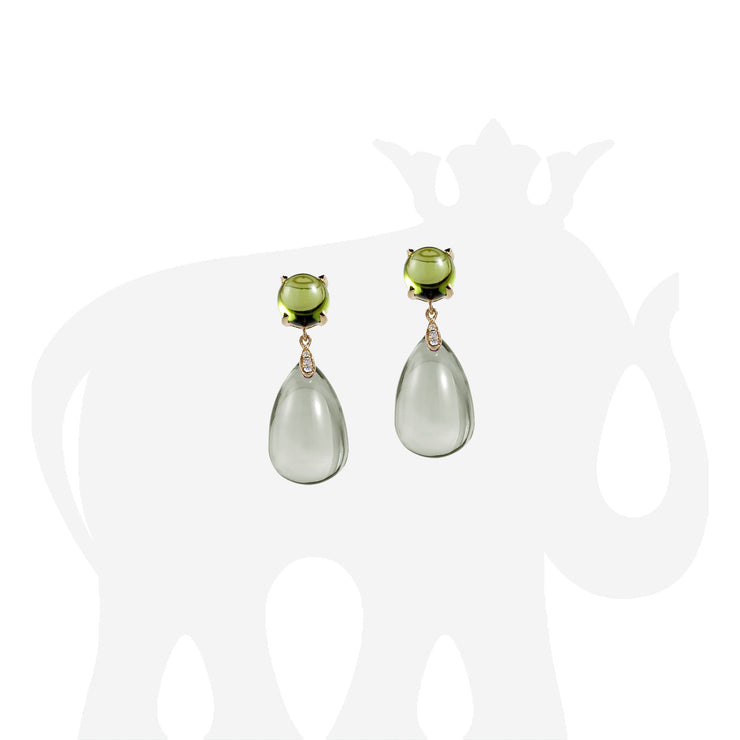 Prasiolite & Peridot Cabochon Drop Earrings with Diamonds