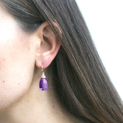 Amethyst Drop Earrings with Diamond Caps