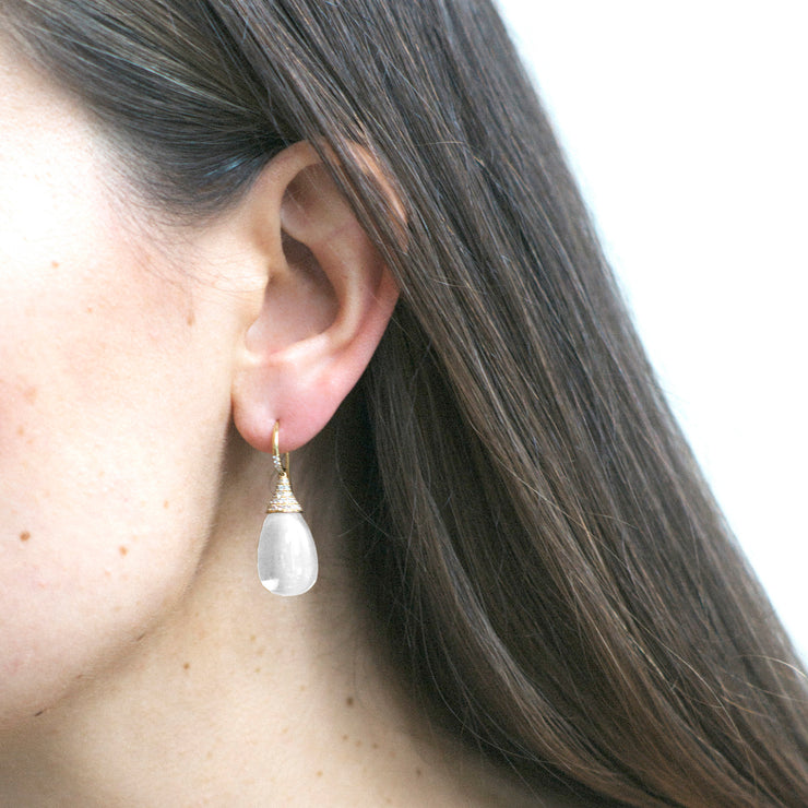 Moon Quartz Drop Earrings with Diamond Caps