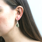 Prasiolite Drop Earrings with Diamond Caps