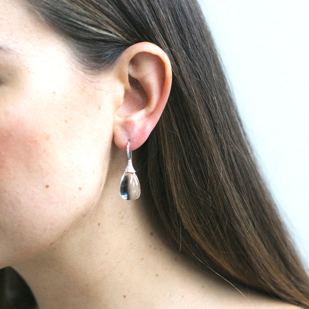 Rock Crystal Drop Earrings with Diamond Caps