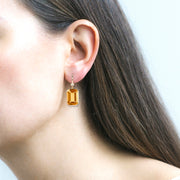 Citrine Emerald Cut & Diamond Earrings on Wire