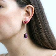 Amethyst & Rubelite Long Drop Earrings with Diamonds