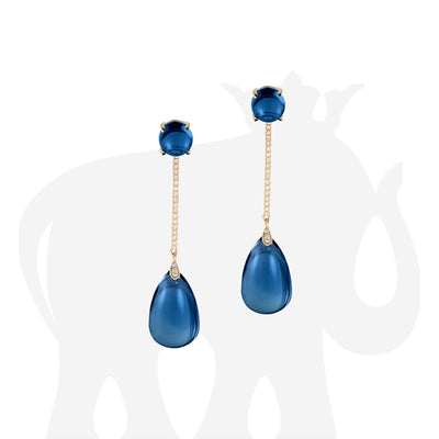 London Blue Topaz Long Drop Earrings