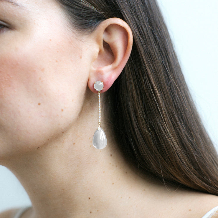 Moon Quartz Long Drop Earrings with Diamonds