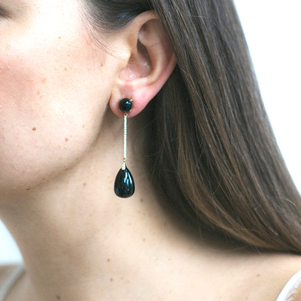 Onyx Long Drop Earrings with Diamonds