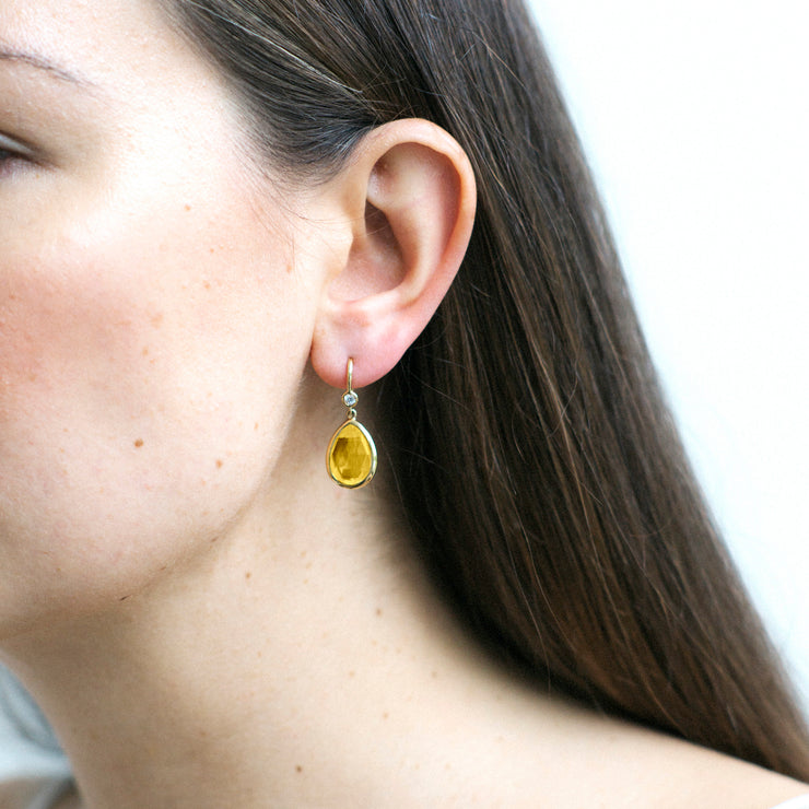 Citrine Pear Shape Earrings with Diamonds on Wire