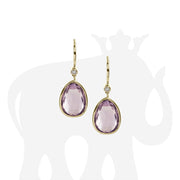 Lavender Amethyst Pear Shape Earrings with Diamonds on Wire