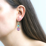 Amethyst, Blue Topaz & Prasiolite Disc Earrings on Wire