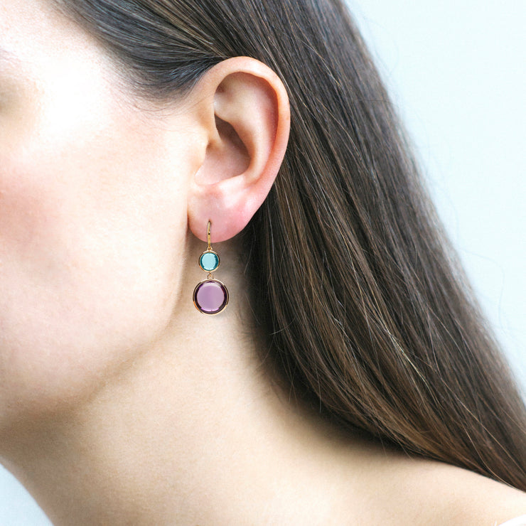 Amethyst & Blue Topaz Disc Earrings on Wire
