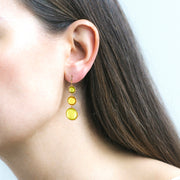 Lemon Quartz, Citrine & Peridot Disc Earrings on Wire