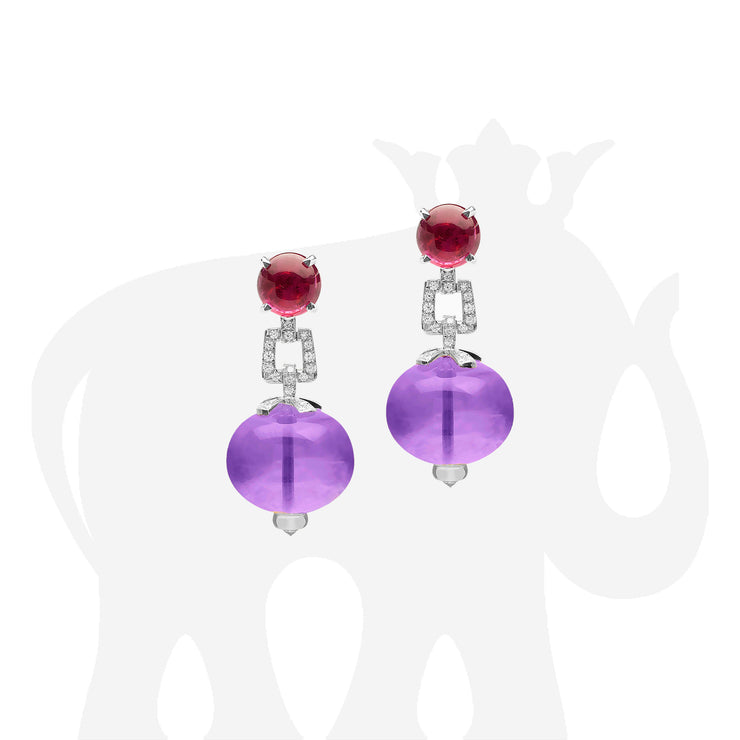 Amethyst Bead with Garnet Cabochon Earrings with Diamonds