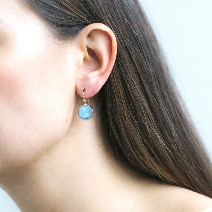 Blue Topaz & Diamond Disc Earrings on Wire