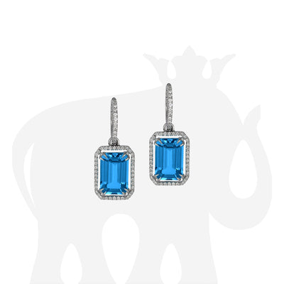London Blue Topaz Emerald Cut Earrings with Diamond Trim