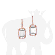 Rock Crystal Emerald Cut Earrings with Diamond Trim