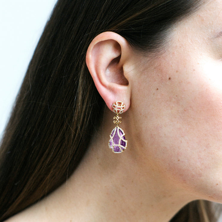 Amethyst Teardrop Earrings with Diamonds