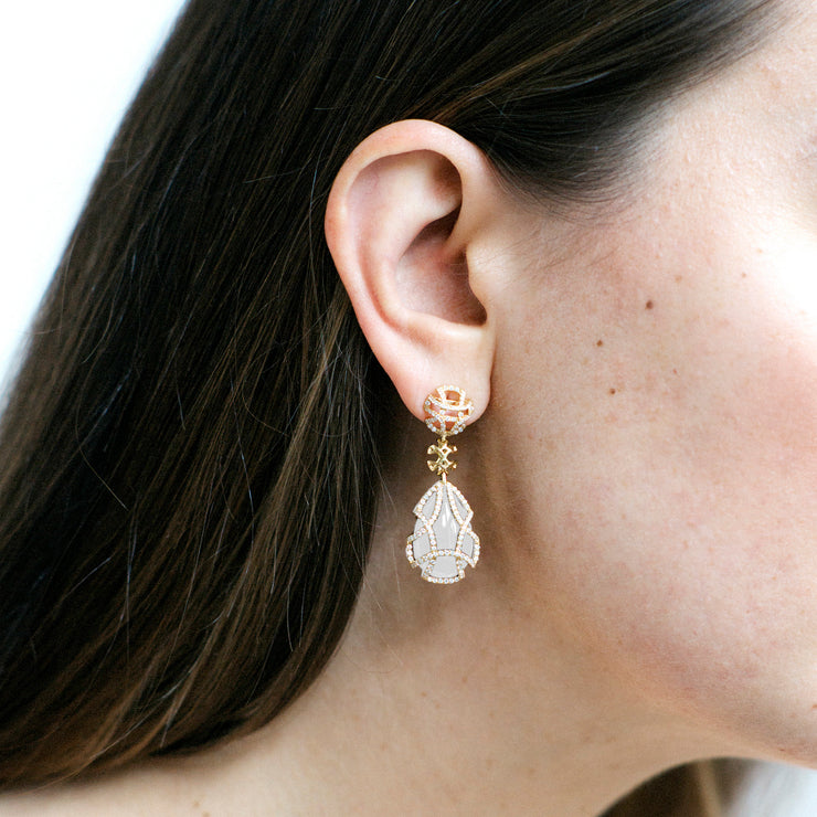 Moon Quartz Teardrop Earrings with Diamonds