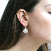 Moon Quartz Oblong Earrings with Diamonds