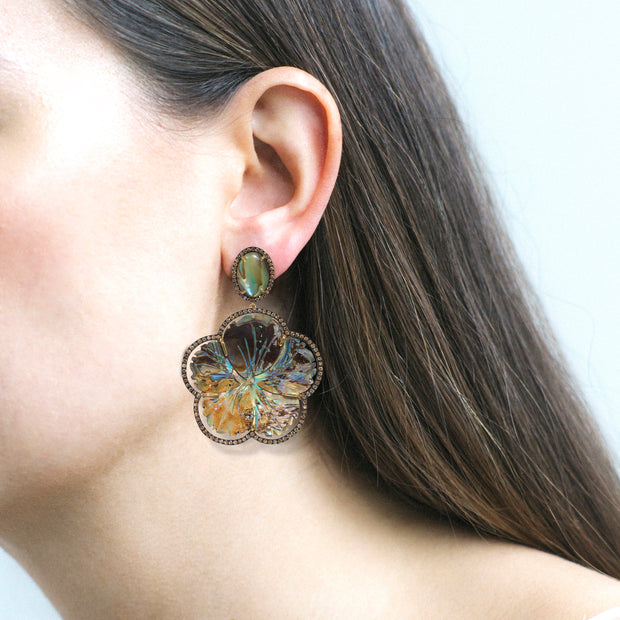 Carved Abalone & Champagne Diamond Earrings