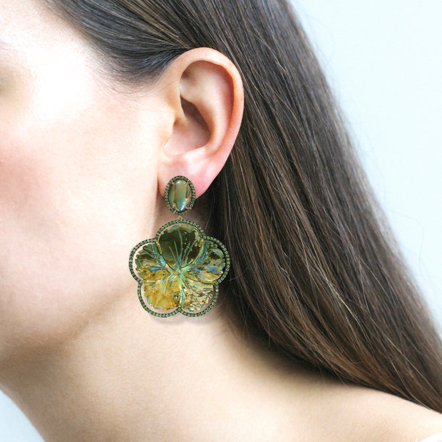 Carved Abalone & Tsavorite Earrings
