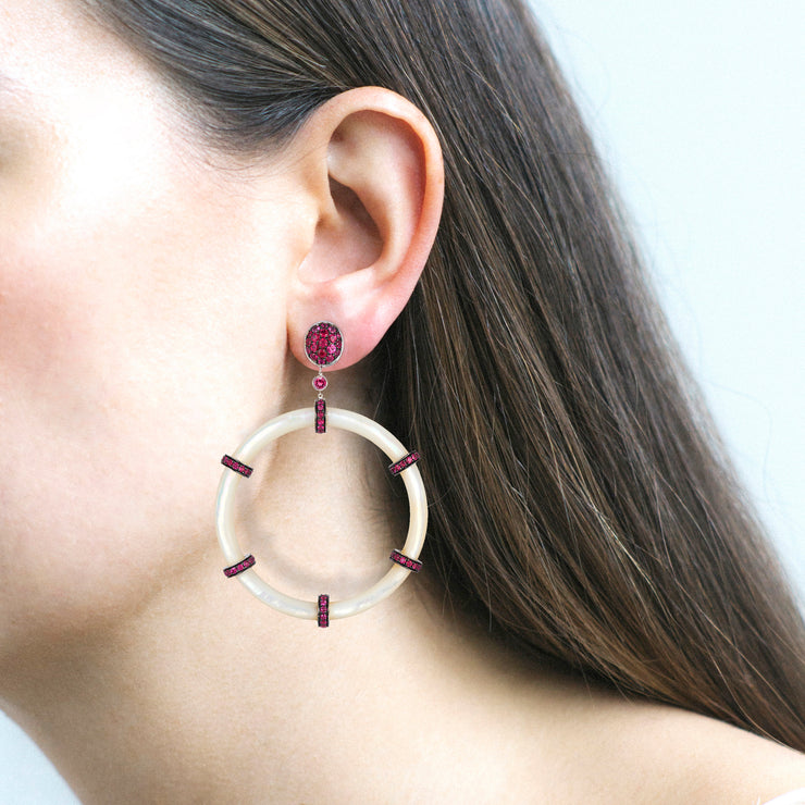 Mother Of Pearl Hoop Earrings with Rubies