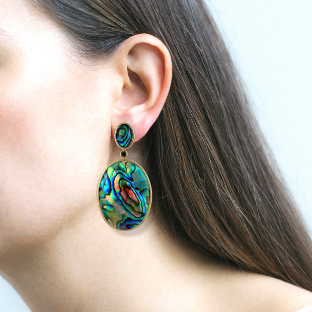 Double Oval Abalone Earrings