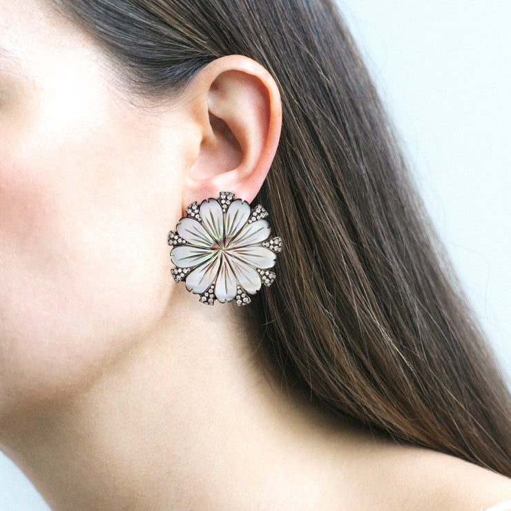 Mother Of Pearl Carved Flower & Diamond Earrings