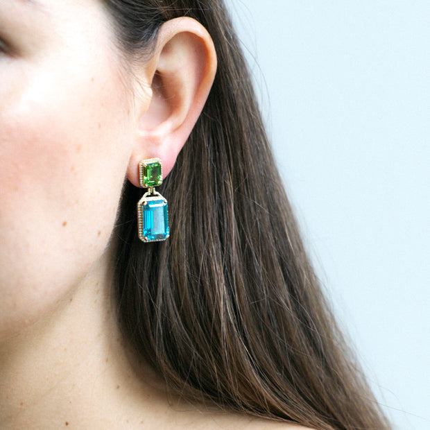 Blue Topaz and Peridot Emerald Cut Earrings with Diamonds