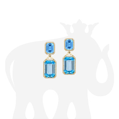 Blue Topaz Emerald Cut Earrings with Diamonds