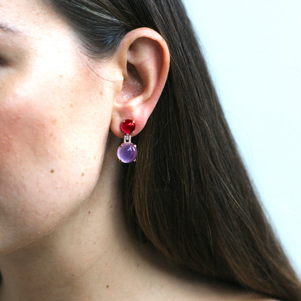 Amethyst and Garnet Cabochon Earrings with Diamonds