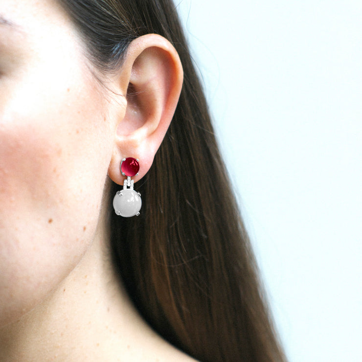 Moon Quartz & Garnet Cabochon Earrings with Diamonds