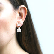 Moon Quartz Cabochon Earrings with Diamonds